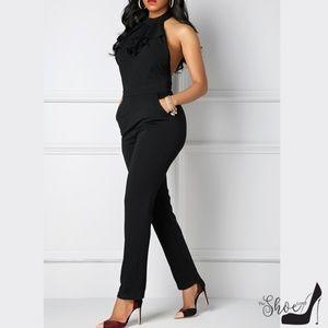 Pants & Jumpsuits - Black Halter Ruffle Front Neck Bow Jumpsuit